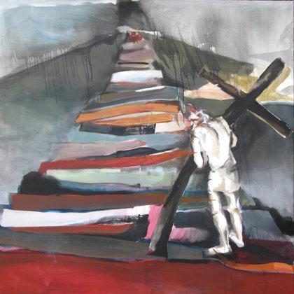 2. Station- Jesus nimmt das Kreuz auf seine Schultern, 150 x 150 cm, Acryl auf Leinwand, 2