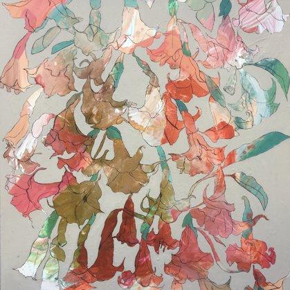 Engelstrompeten II, 130 x 110 cm, Acryl und Kohle auf Leinwand, 2020