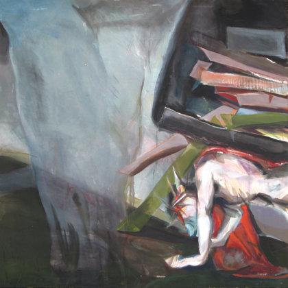 7. Station - Jesus fällt das zweite Mal unterm Kreuz, 150 x 150 cm, Acryl auf Leinwand, 20