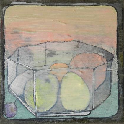 Obstschale, 20 x 20 cm, Mischtechnik auf Leinwand, 2015