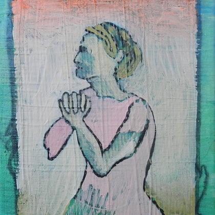 Betende, 18 x 13 cm, Mischtechnik auf Leinwand, 2015