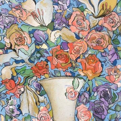 Sissis Vase , 60 x 50 cm, Acryl, Lack und Kohle auf Leinwand, 2019
