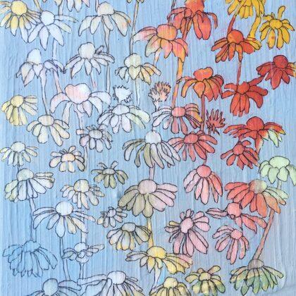 Blumenregen II, 20 x 15 cm, Mischtechnik auf Leinwand, 2020