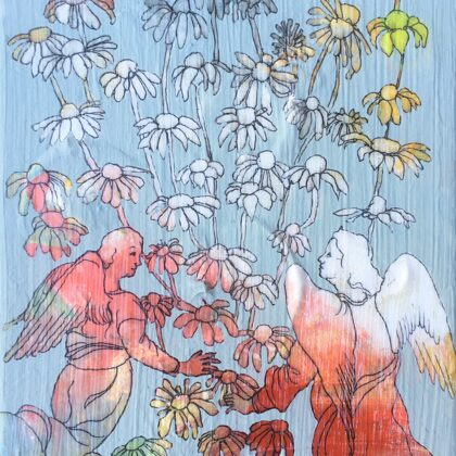 Blumenregen I, 20 x 15 cm, Mischtechnik auf Leinwand, 2020