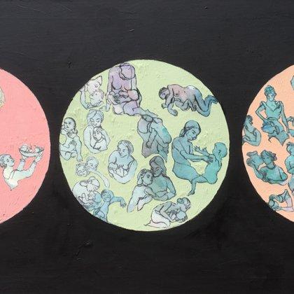 Die Frau, 60 x 110 cm, Acryl und Kohle auf Leinwand, 2018