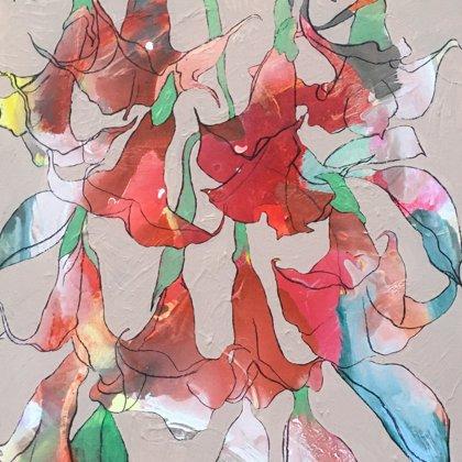 Engelstrompeten, 90 x 62 cm, Acryl und Kohle auf Leinwand, 2020