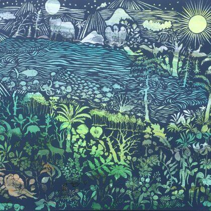 Ein hohes Lied, 110 x 130 cm, Acryl und Kohle auf Leinwand, 2020