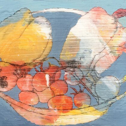 Gemüse, 13 x 18 cm, Mischtechnik auf Leinwand, 2020