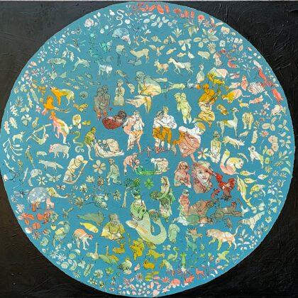 Teil der Welt, 150 x 135 cm, Acryl und Kohle auf Leinwand, 2021