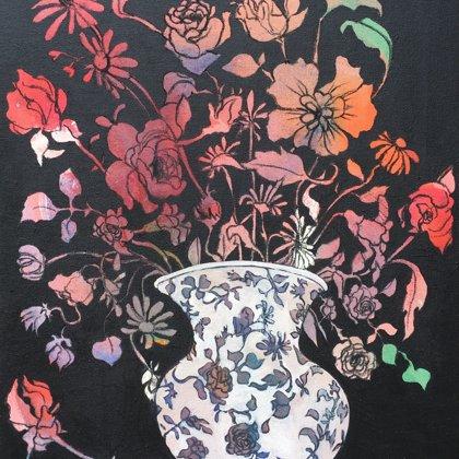 Käthes Vase, 55 x 46 cm, Acryl und Kohle auf Leinwand, 2018