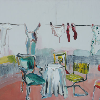Sitzrichtungen, Acryl auf Leinwand, 100 x 150 cm, 2009
