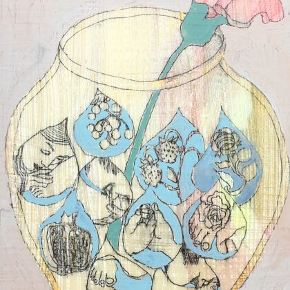 Krug, 18 x 13 cm, Mischtechnik auf Leinwand, 2020