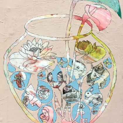 Krug mit Tropfen, 30 x 25 cm, Mischtechnik auf Leinwand, 2020