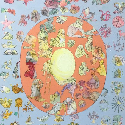 Licht II, 162 x 130 cm Acryl und Kohle auf Leinwand, 2020