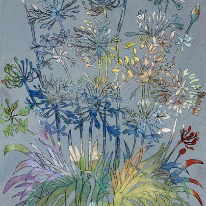 Liebesblume, 100 x 70 cm, Acryl und Kohle auf Leinwand, 2021