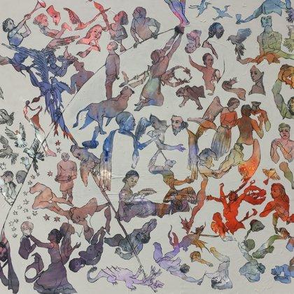 Liebt einander, 162 x 130 cm, Acryl und Kohlre auf Leinwand, 2018