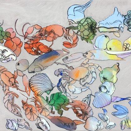 Meer I, 60 x 90 cm, Acryl und Kohle auf Leinwand, 2018
