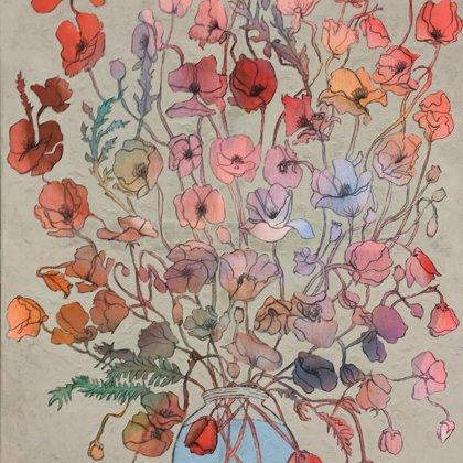 Mohn, 100 x 70 cm, Acryl und Kohle auf ungrundierter feiner Baumwolle, 2018