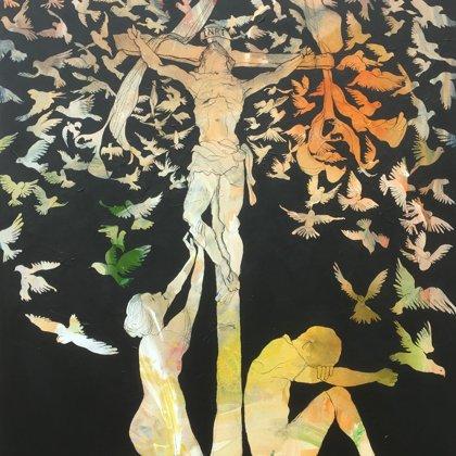 Passion, Acryl und Kohle auf Leinwand, 162 x 130 cm, 2018