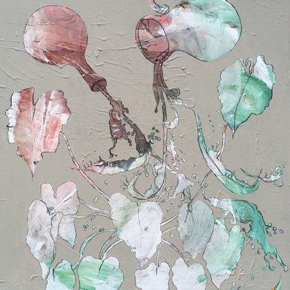 Quelle III, 120 x 100 cm, Acryl und Kohle auf Leinwand, 2017