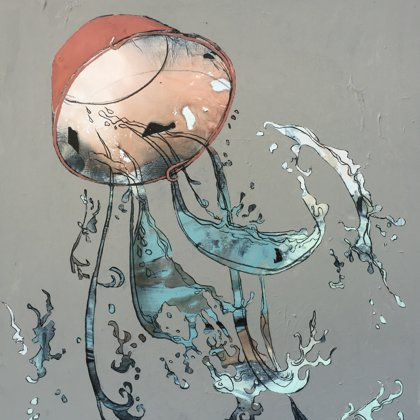 Quelle I, 100 x 80 cm, Acryl und Kohle auf Leinwand, 2017