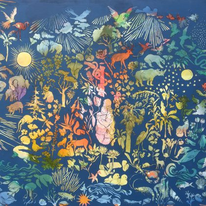 Schöpfung, 130 x 162 cm, Acryl und Kohle auf Leinwand, 2020