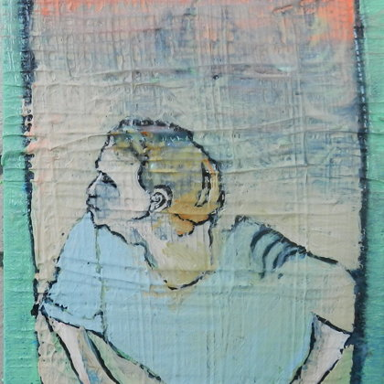 Sehender, 18 x 13 cm, Mischtechnik auf Leinwand, 2015