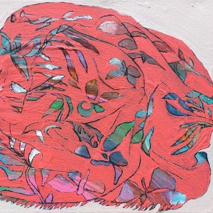 Tuch I, 25 x 30 cm, Acryl und Kohle auf Leinwand, 2018
